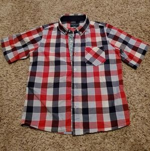🏒Boys red white and blue button down shirt size 7